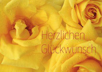 Glückwunschkarte gelbe Rosen