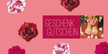 Geschenkgutscheinkarte Fußpflege Rosen