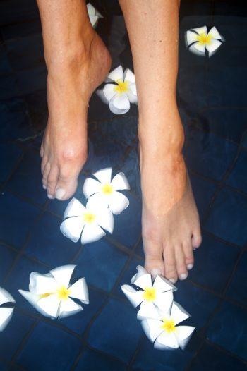 Fußbad Blüten hoch