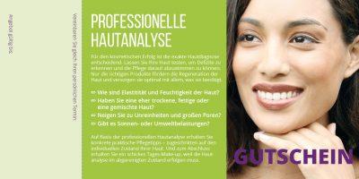 Flyer Gutschein Hautanalyse grün