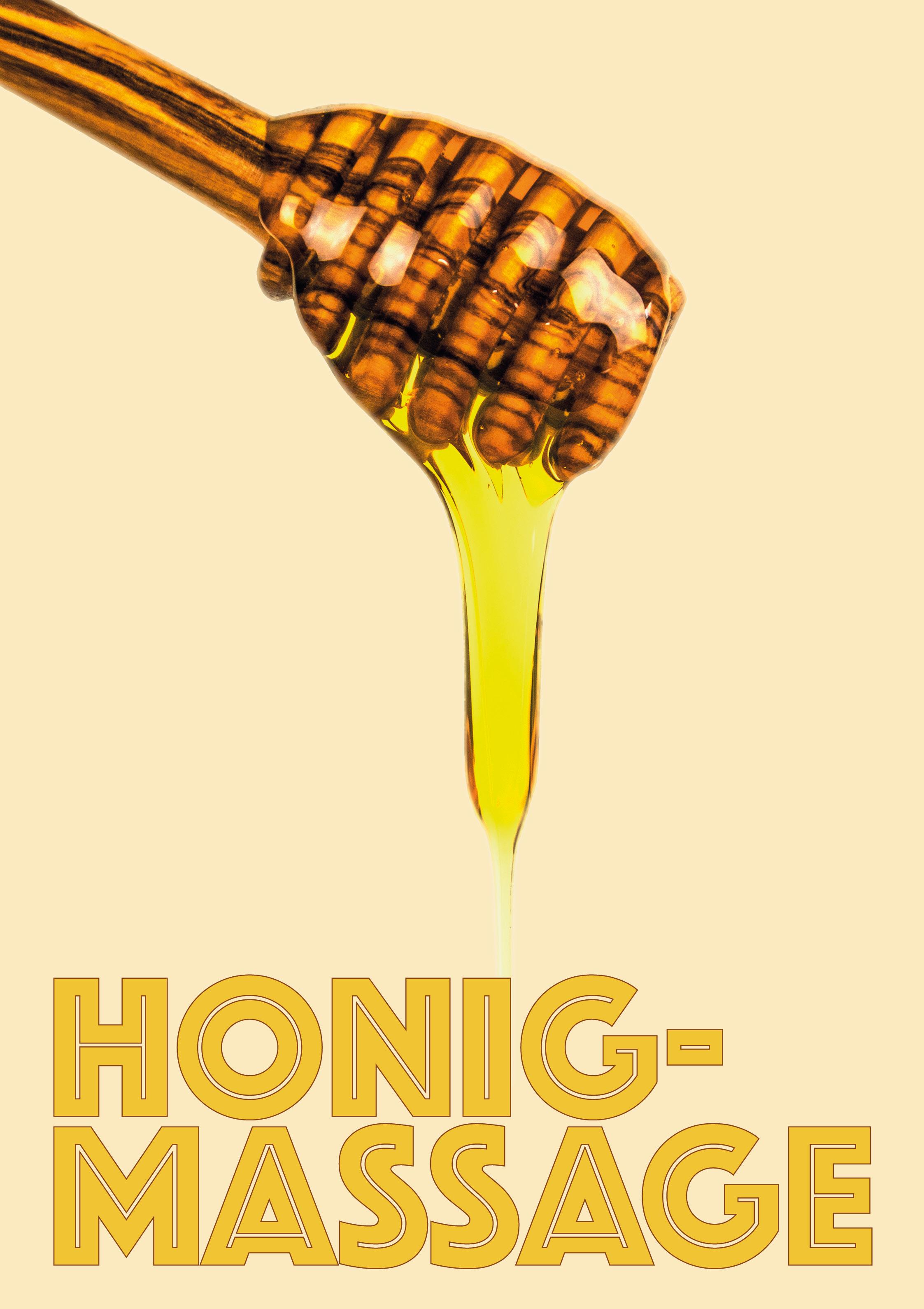 Kostenlose Druckvorlage - Plakat Honigmassage Tropfen - Wellness