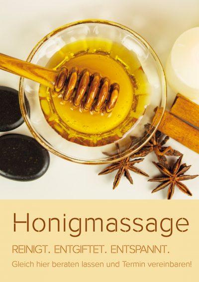 Plakat Honigmassage reinigt