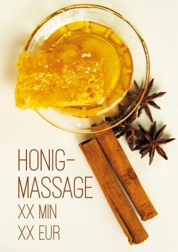 Plakat Honigmassage Wabe Preis