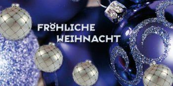 Geschenkgutschein-Karte Weihnachten blau