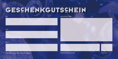 Geschenkgutschein-Karte Weihnachten blau Seite 2