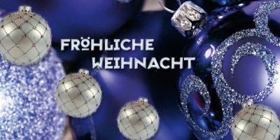 Geschenkgutschein Weihnachten blau