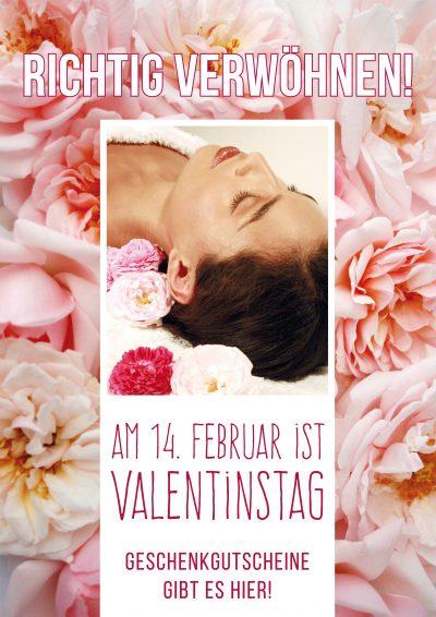 Plakat Valentinstag rosa Rosen