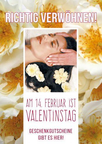 Plakat Valentinstag weiße Rosen