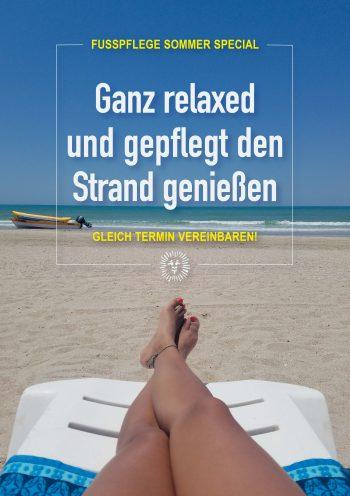 Plakat Urlaub entspannte Füße