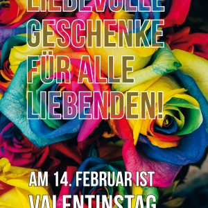 Plakat Valentinstag Rainbow Roses