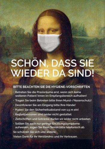 Plakat Coronal Regeln Mona Lisa patienten praxis