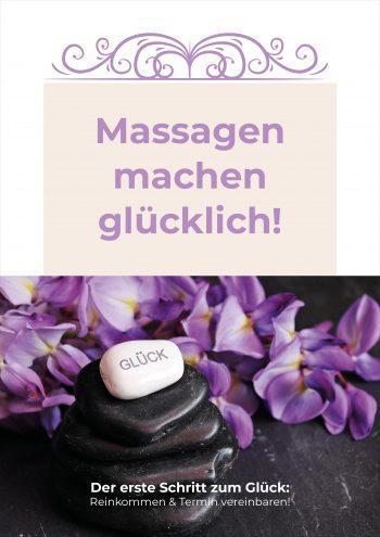Plakat Massagen Glück